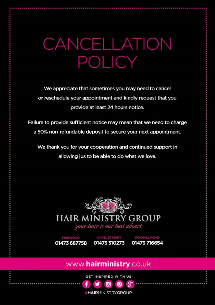 Salon Policies Hair Ministry Group Salons In Ipswich