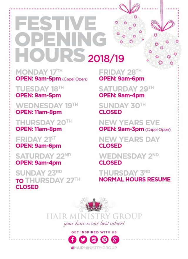 Christmas hair and beauty appointments Ipswich salons