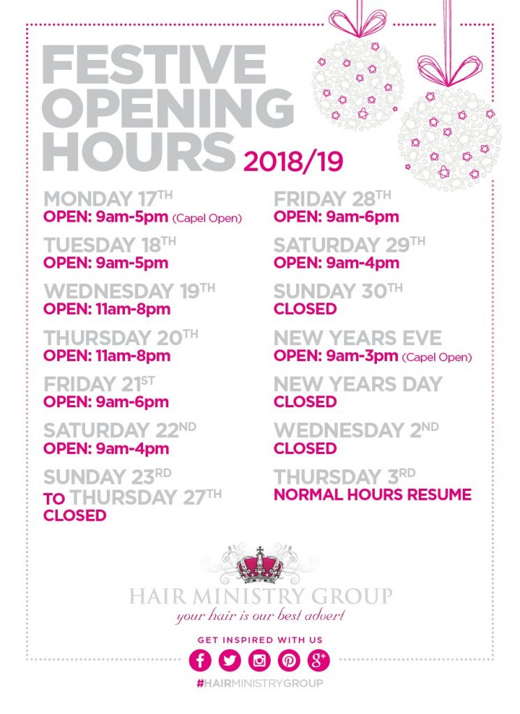 Christmas Beauty Appointments.Christmas Opening Hours Hair Ministry Group Ipswich Salons