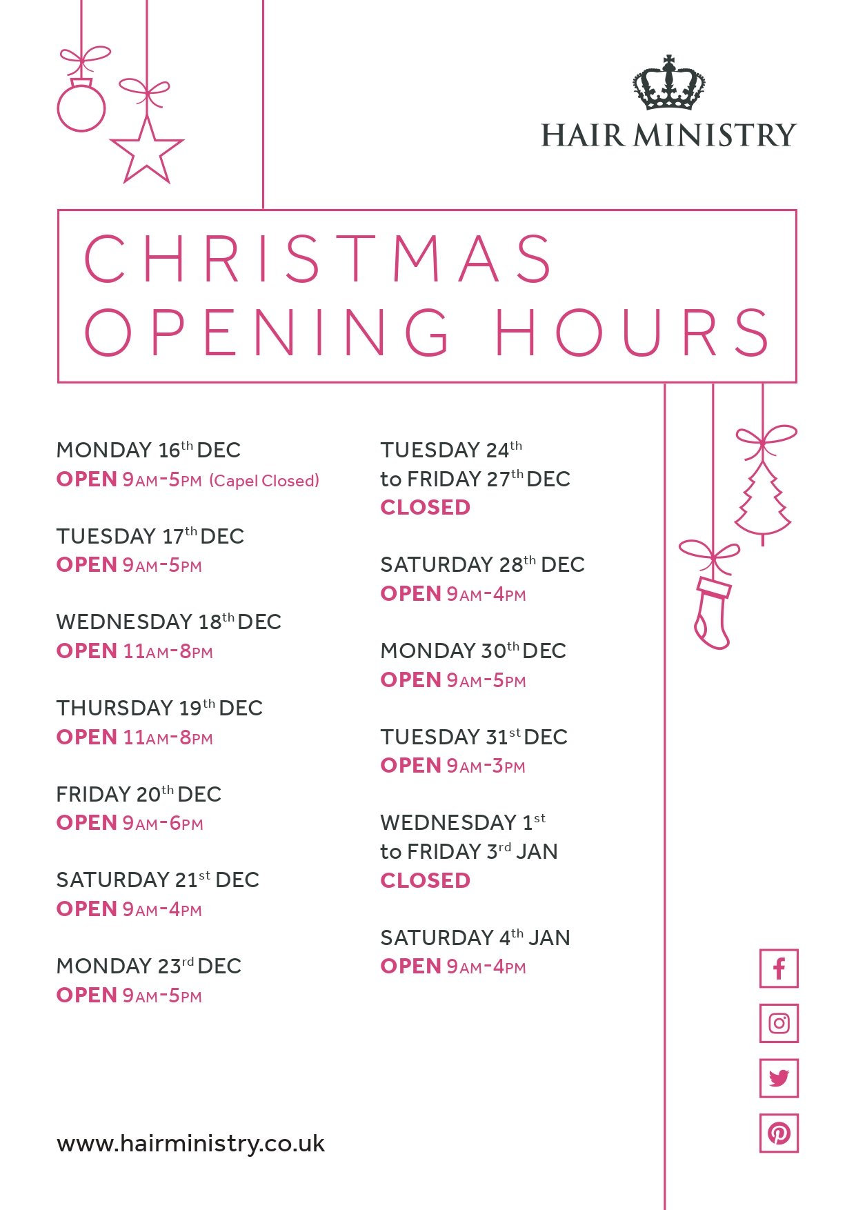 Hair Ministry Opening Times