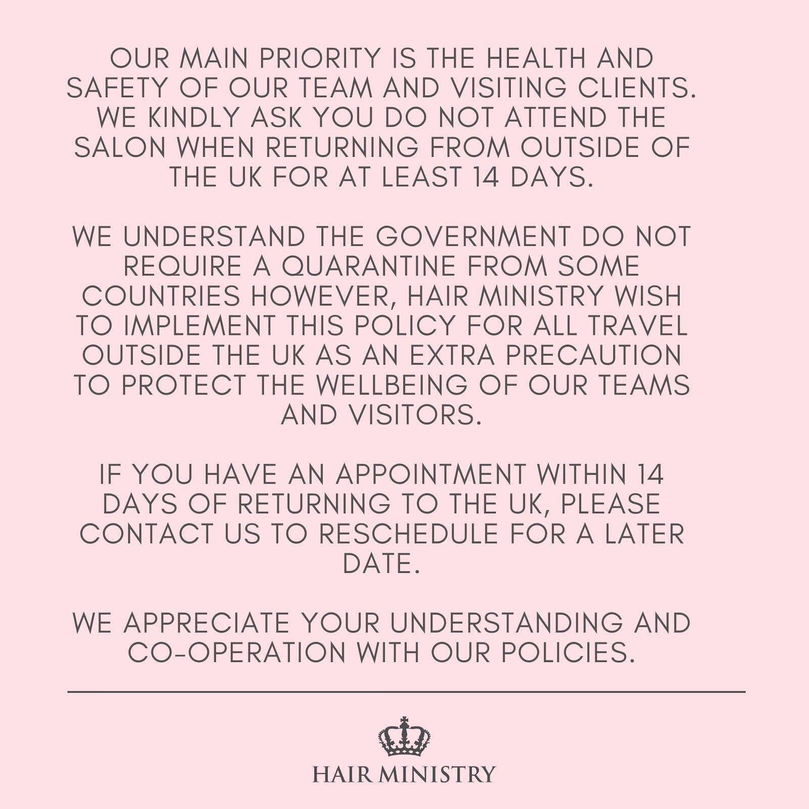 Travel Policy Hair Ministry Group Salons Ipswich
