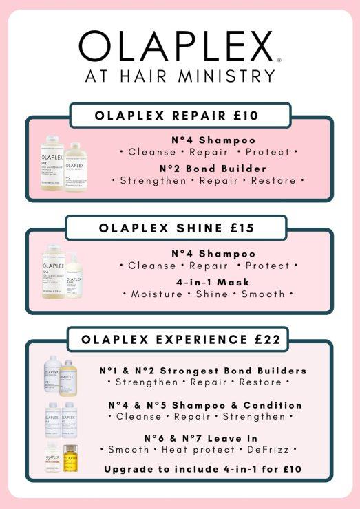 Olaplex at hair ministry treatment menu